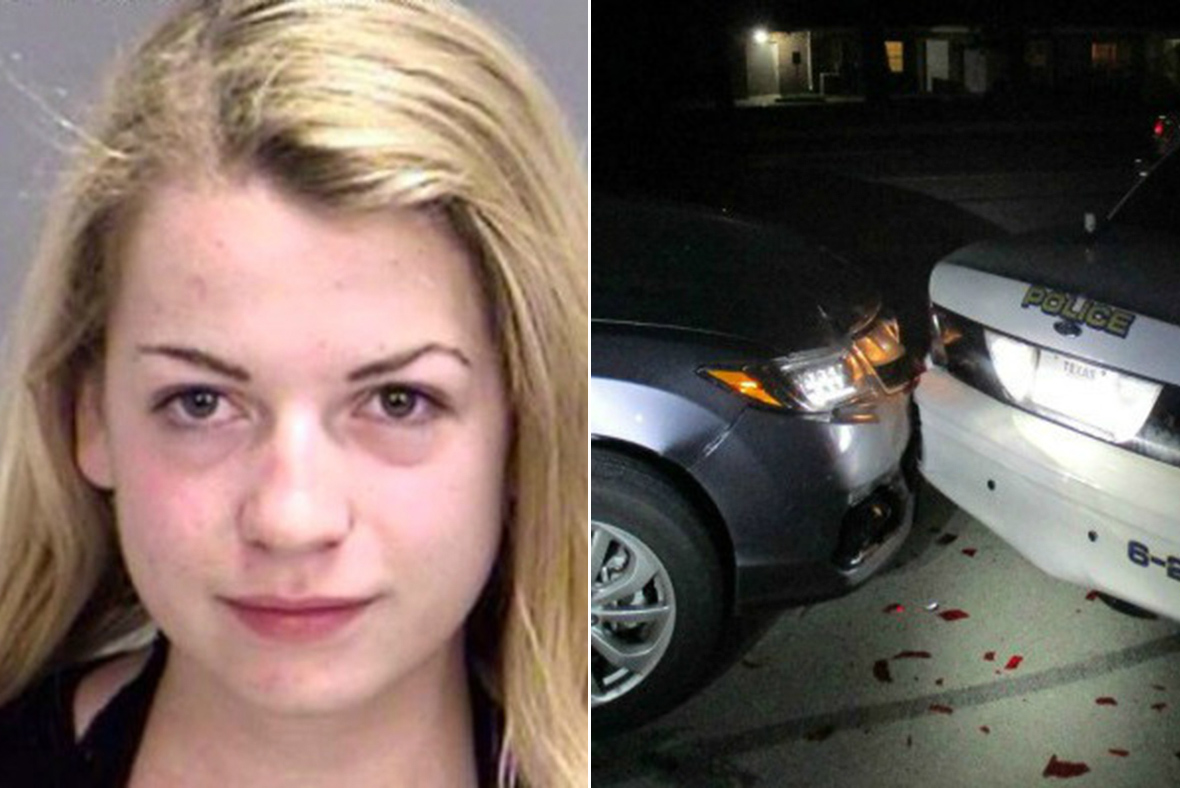 College student crashes into police car while Taking Topless Selfie